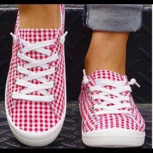 Red & White Gingham Sneaker - Women